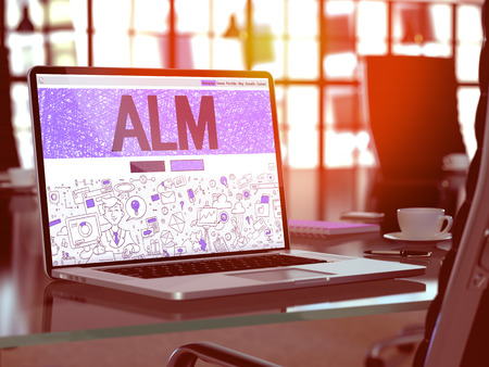 streamlining: ALM - Application Lifecycle Management - Concept - Closeup on Landing Page of Laptop Screen in Modern Office Workplace. Toned Image with Selective Focus. 3D Render.