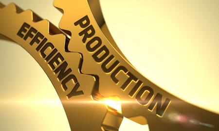 Production Efficiency on Mechanism of Golden Metallic Cog Gears with Glow Effect. Production Efficiency - Technical Design. Production Efficiency on the Golden Gears. 3D Render. Reklamní fotografie