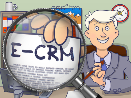 E-CRM. Businessman in Office Workplace Shows through Magnifying Glass Paper with Text. Colored Modern Line Illustration in Doodle Style.