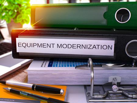 enginery: Black Office Folder with Inscription Equipment Modernization on Office Desktop with Office Supplies and Modern Laptop. Equipment Modernization Business Concept on Blurred Background. 3D Render.