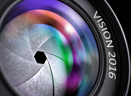 lens: Vision 2016 - Concept on SLR Camera Lens with Colored Lens Reflection, Closeup. Vision 2016 Written on a Camera Lens. Closeup View, Selective Focus, Lens Flare Effect. Vision 2016 Concept. 3D. Stock Photo