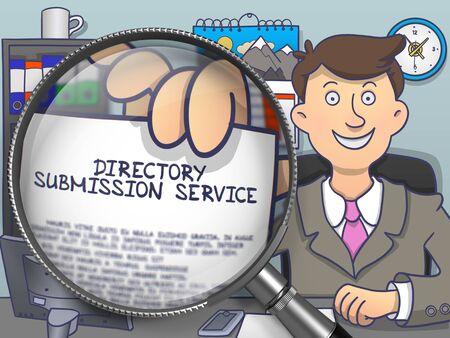 Directory Submission Service. Papier mit Konzept in Hand des Geschäftsmannes durch Lupe. Farbige Modern Line Illustration in Doodle-Stil.