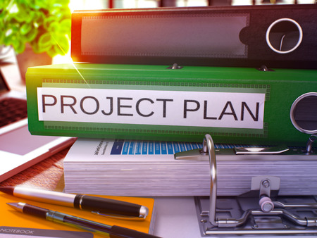 timelines: Project Plan - Green Ring Binder on Office Desktop with Office Supplies and Modern Laptop. Project Plan Business Concept on Blurred Background. Project Plan - Toned Illustration. 3D Render.