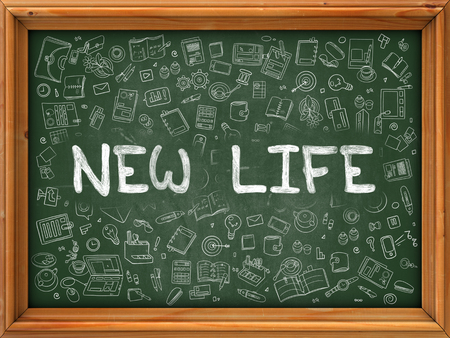 life style: New Life Concept. Modern Line Style Illustration. New Life Handwritten on Green Chalkboard with Doodle Icons Around. Doodle Design Style of  New Life Concept.