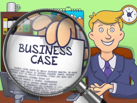 show case: Business Case. Handsome Businessman in Office Workplace Holding a Paper with Concept through Magnifier. Colored Modern Line Illustration in Doodle Style.