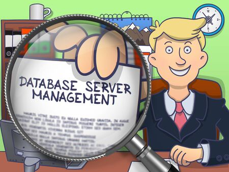 systematization: Database Server Management on Paper in Mans Hand to Illustrate a Business Concept. Closeup View through Magnifying Glass. Colored Doodle Style Illustration. Stock Photo