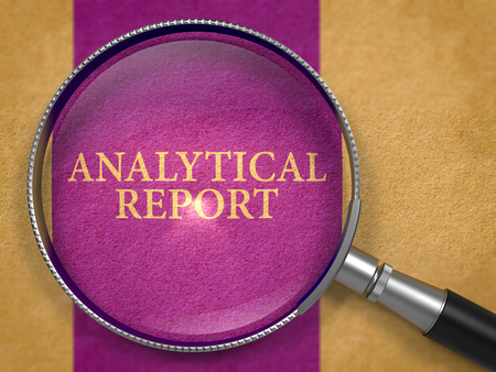 analytical: Analytical Report through Loupe on Old Paper with Dark Lilac Vertical Line Background. 3D Render.