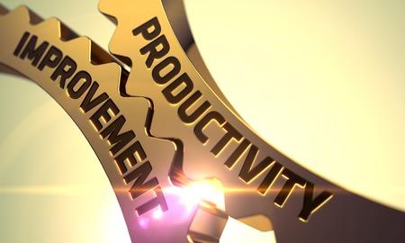 productividad: Mejora de la Productividad - Concepto. Mejora de la productividad en el Mecanismo de engranajes metálicos de oro con efecto de resplandor. Mejora de la productividad en el mecanismo de ruedas dentadas de oro. Render 3D.
