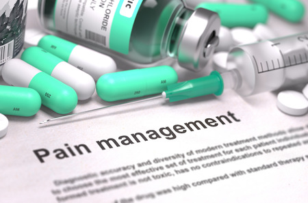 pain management: Pain Management. Medical Concept with LIght Green Pills, Injections and Syringe. Selective Focus. Blurred Background. 3D Render.