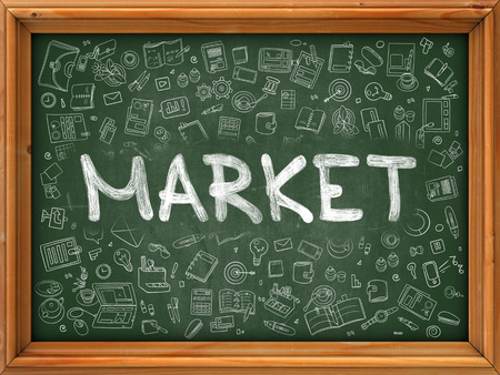 peddle: Market - Handwritten Inscription by Chalk on Green Chalkboard with Doodle Icons Around. Modern Style with Doodle Design Icons. Market on Background of Green Chalkboard with Wood Border.