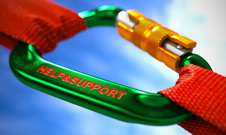 patronage: Red Ropes Connected by Green Carabiner Hook with Text Help and Support. Selective Focus. 3D Render.