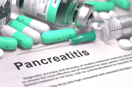 pancreatitis: Diagnosis - Pancreatitis. Medical Report with Composition of Medicaments - LIght Green Pills, Injections and Syringe. Blurred Background with Selective Focus. 3D Render. Stock Photo