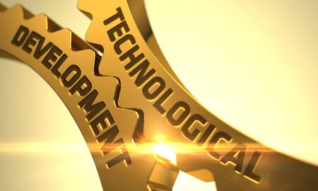 technological evolution: Technological Development Golden Gears. Golden Cog Gears with Technological Development Concept. Technological Development on the Golden Cogwheels. 3D. Stock Photo
