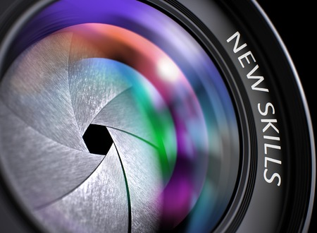 learning new skills: Colored Lens Reflections Closeup on Lens of Digital Camera with Inscription New Skills. Lens of Digital Camera with New Skills Inscription. Colorful Lens Flares on Front Glass. 3D Render. Stock Photo