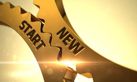 new start: Golden Metallic Gears with New Start Concept. New Start on the Mechanism of Golden Cogwheels with Glow Effect. New Start on Mechanism of Golden Cog Gears. 3D Render.