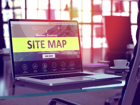 site map: Site Map Concept. Closeup Landing Page on Laptop Screen  on background of Comfortable Working Place in Modern Office. Blurred, Toned Image. 3D Render. Stock Photo