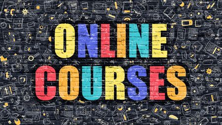vocational: Multicolor Concept - Online Courses on Dark Brick Wall with Doodle Icons. Modern Illustration in Doodle Style. Online Courses Business Concept. Online Courses on Dark Wall.