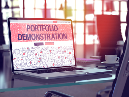 implemented: Portfolio Demonstration Concept - Closeup on Landing Page of Laptop Screen in Modern Office Workplace. Toned Image with Selective Focus. 3D Render. Stock Photo