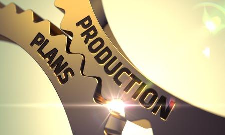 Production Plans - Concept. Production Plans - Industrial Design. Production Plans Golden Metallic Cog Gears. Production Plans on Mechanism of Golden Cog Gears with Lens Flare. 3D Render.