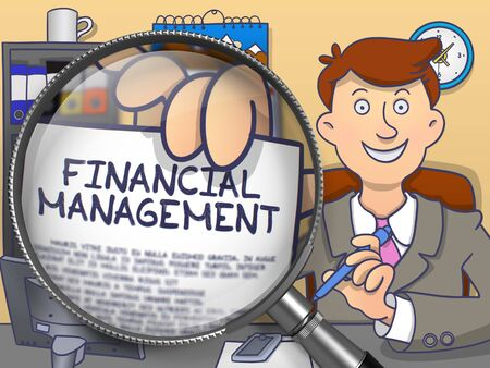 Financial Management through Magnifying Glass. Businessman Showing Paper with Text. Closeup View. Multicolor Doodle Style Illustration. Stock Photo