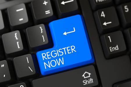 Regístrese Ahora teclado en el teclado de PC. Regístrese Ahora Cierre de teclado de ordenador portátil moderno en un moderno equipo portátil. Regístrese ahora en el moderno antecedentes de teclado del ordenador portátil. Render 3D.