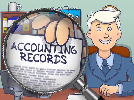 registros contables: Registros contables. Hombre de negocios en el lugar de trabajo de oficina se muestra a través de la lupa del texto en el papel. Ilustración de estilo dibujo multicolor. Foto de archivo