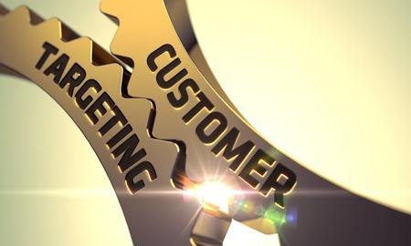customer focus: Customer Targeting on the Mechanism of Golden Metallic Gears with Lens Flare. Customer Targeting on Golden Cogwheels. Customer Targeting - Technical Design. Customer Targeting - Concept. 3D.