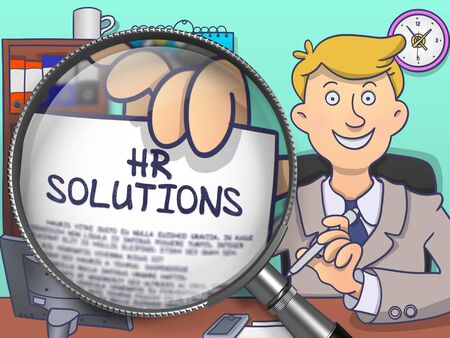 executive search: HR Solutions. Cheerful Officeman Welcomes in Office and Shows Paper with Inscription through Magnifying Glass. Multicolor Doodle Illustration. Stock Photo
