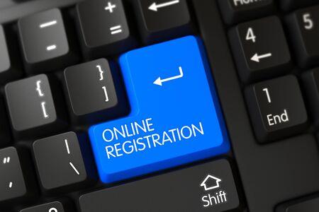 Computertoetsenbord met de woorden Online Registration on Blue Key. Blauw online registratie toetsenbord op toetsenbord. Key Online Registration op gemoderniseerd toetsenbord. 3D illustratie.