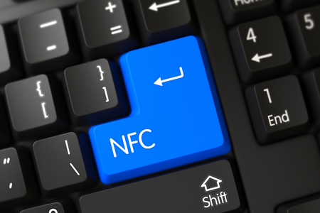 nfc: Concepts of NFC, with a NFC on Blue Enter Button on Computer Keyboard. NFC Concept. PC Keyboard with NFC on Blue Enter Button Background, Selected Focus. 3D Illustration.