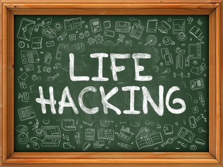 ingenuity: Life Hacking Concept. Line Style Illustration. Life Hacking Handwritten on Green Chalkboard with Doodle Icons Around. Doodle Design Style of  Life Hacking.