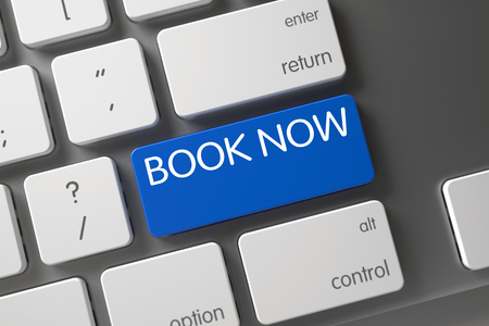 beforehand: Book Now Concept. Metallic Keyboard with Book Now on Blue Enter Button Background, Selected Focus. Book Now CloseUp of Modern Keyboard on Laptop. Book Now Key on Modern Keyboard. 3D Render.