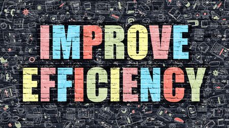improvement: Improve Efficiency Concept. Improve Efficiency Drawn on Dark Wall. Improve Efficiency in Multicolor. Improve Efficiency Concept. Modern Illustration in Doodle Design of Improve Efficiency. Stock Photo