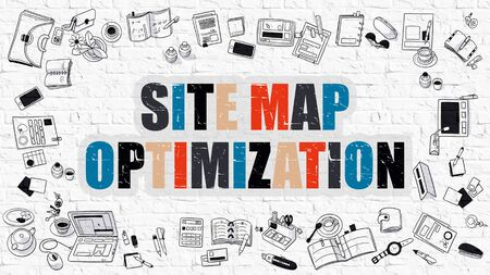 site map: Multicolor Concept - Site Map Optimization - on White Brick Wall with Doodle Icons Around. Modern Illustration with Doodle Design Style. Stock Photo
