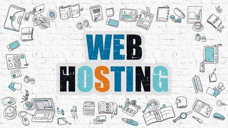 metasearch: Web Hosting - Multicolor Concept with Doodle Icons Around on White Brick Wall Background. Modern Illustration with Elements of Doodle Design Style. Stock Photo