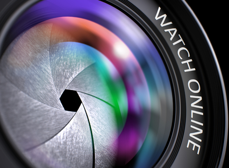 iptv: Lens of Camera with Watch Online Concept. Watch Online Written on a Lens of Camera. Closeup View, Selective Focus, Lens Flare Effect. Watch Online - Concept on Camera Lens, Closeup. 3D Illustration. Stock Photo