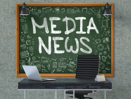 urgent announcement: Media News Concept Handwritten on Green Chalkboard with Doodle Icons. Office Interior with Modern Workplace. Gray Concrete Wall Background. 3D. Stock Photo