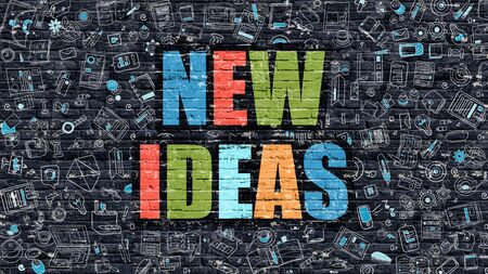 aspirational: New Ideas Concept. Modern Line Style Illustration. Multicolor New Ideas Drawn on Dark Brick Wall. Doodle Icons. Doodle Design Style of New Ideas Concept. New Ideas on Dark Brick Wall. New Ideas.