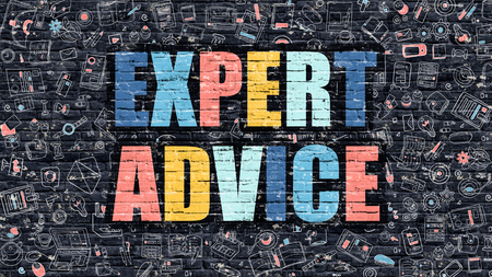 business advice: Expert Advice. Multicolor Inscription on Dark Brick Wall with Doodle Icons. Expert Advice Concept in Modern Style. Doodle Design Icons. Expert Advice on Dark Brickwall Background.