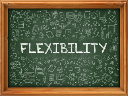elasticity: Green Chalkboard with Hand Drawn Flexibility with Doodle Icons Around. Line Style Illustration. Stock Photo