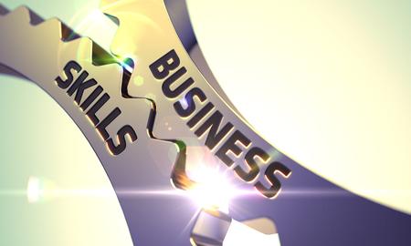 mastery: Business Skills on the Mechanism of Golden Cog Gears with Lens Flare. Business Skills - Industrial Design. Business Skills Golden Metallic Cogwheels. Business Skills - Concept. 3D Render. Stock Photo