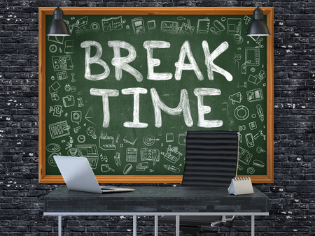 Hand Drawn Break Time on Green Chalkboard. Modern Office Interior. Dark Brick Wall Background. Business Concept with Doodle Style Elements. 3D.
