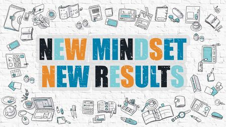 outlook: New Mindset - New Results. Multicolor Inscription on White Brick Wall with Doodle Icons Around. Modern Style Illustration with Doodle Design Icons. New Mindset New Results on White Brickwall. Stock Photo