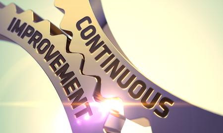 Continuous Improvement op het mechanisme van Golden Gears met Glow Effect. Continuous Improvement op Mechanisme van Golden Tandwielen met Lens Flare. Continuous Improvement - Industrial Design. 3D.