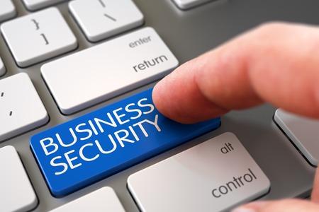 stocktaking: Finger Pushing Business Security Keypad on Computer Keyboard. Hand Pushing Blue Business Security White Keyboard Key. Finger Pressing a White Keyboard Button with Business Security Sign. 3D.