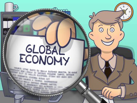 geopolitics: Global Economy. Paper with Concept in Mans Hand through Lens. Multicolor Modern Line Illustration in Doodle Style.
