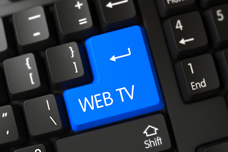 PC Keyboard with Hot Keypad for Web Tv. Concepts of Web Tv, with a Web Tv on Blue Enter Keypad on Computer Keyboard. Modern Keyboard with the words Web Tv on Blue Button. 3D Illustration. Stock Photo