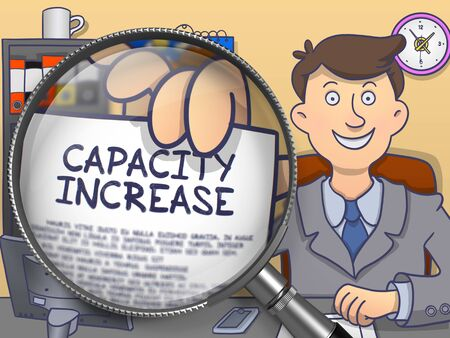 growth enhancement: Capacity Increase through Lens. Man Showing a Paper with Text. Closeup View. Colored Doodle Style Illustration.
