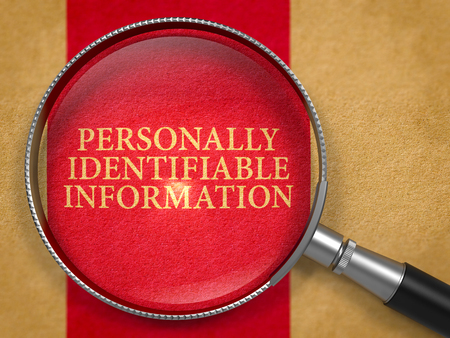 Personally Identifiable Information through Lens on Old Paper with Dark Red Vertical Line Background. 3D Render. Imagens