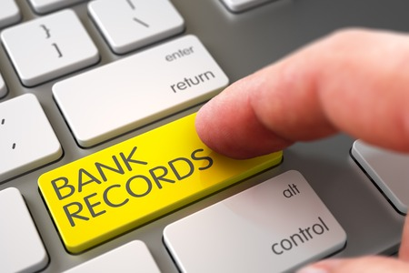bank records: Bank Records - Modern Laptop Keyboard Concept. Laptop Keyboard with Bank Records Yellow Keypad. Close Up view of Male Hand Touching Bank Records Computer Keypad. 3D.